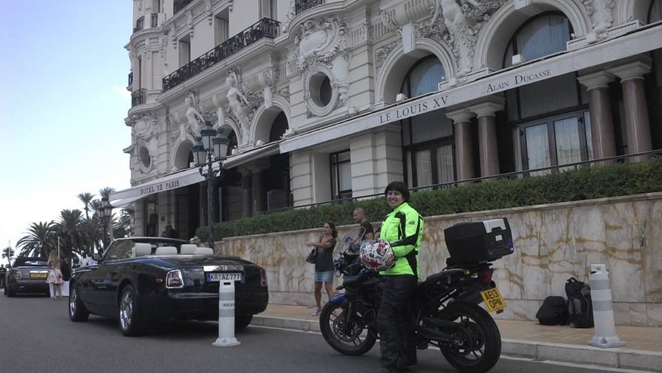 Arriving in Monte Carlo with her support car