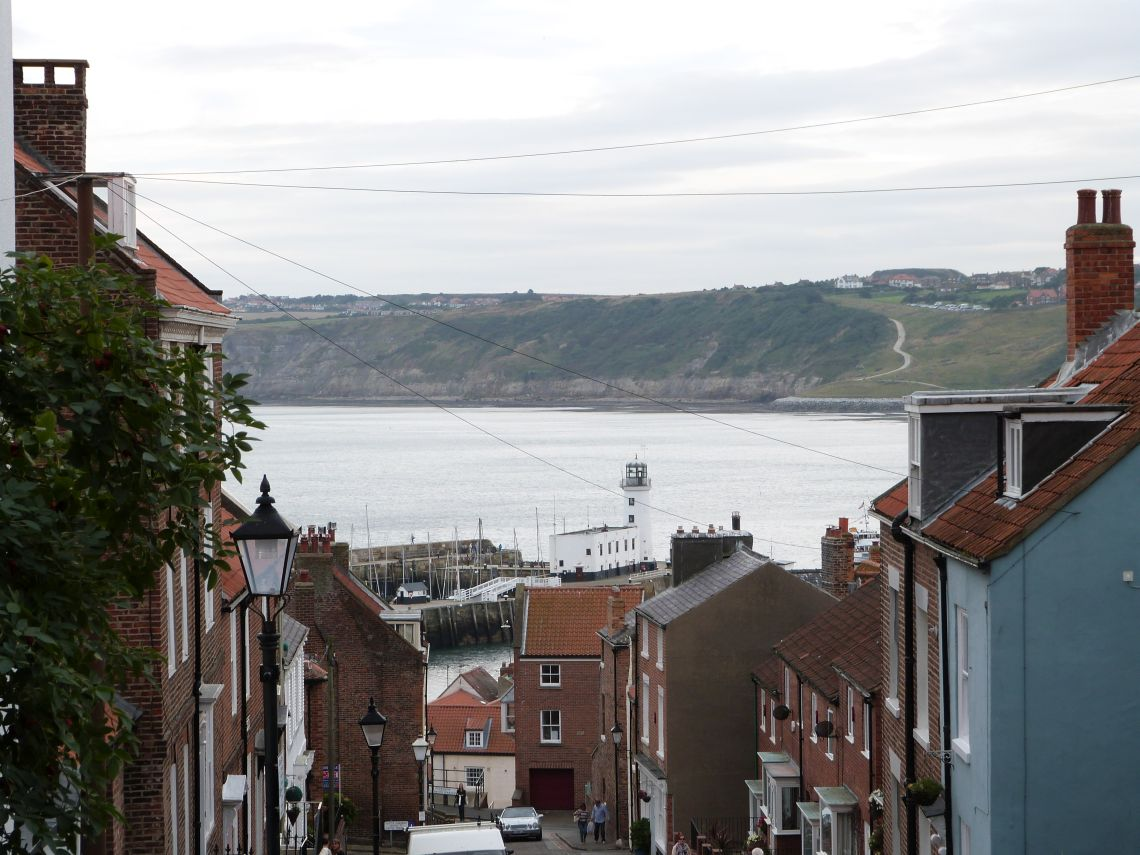 Downhill to Scarborough harbour
