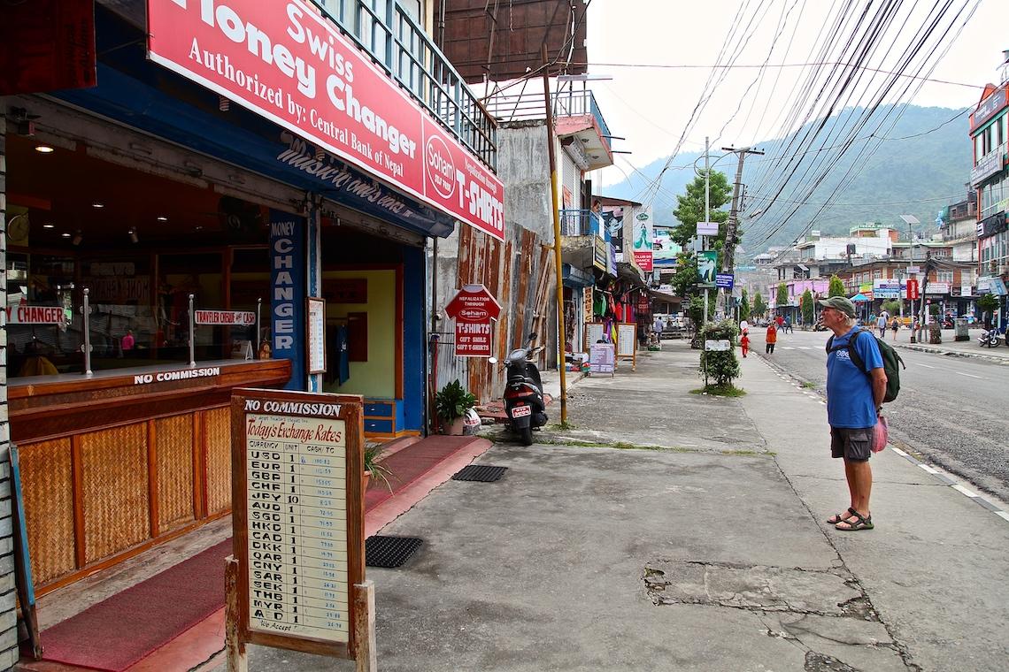 Lone tourist in Pokhara main drag at peak season