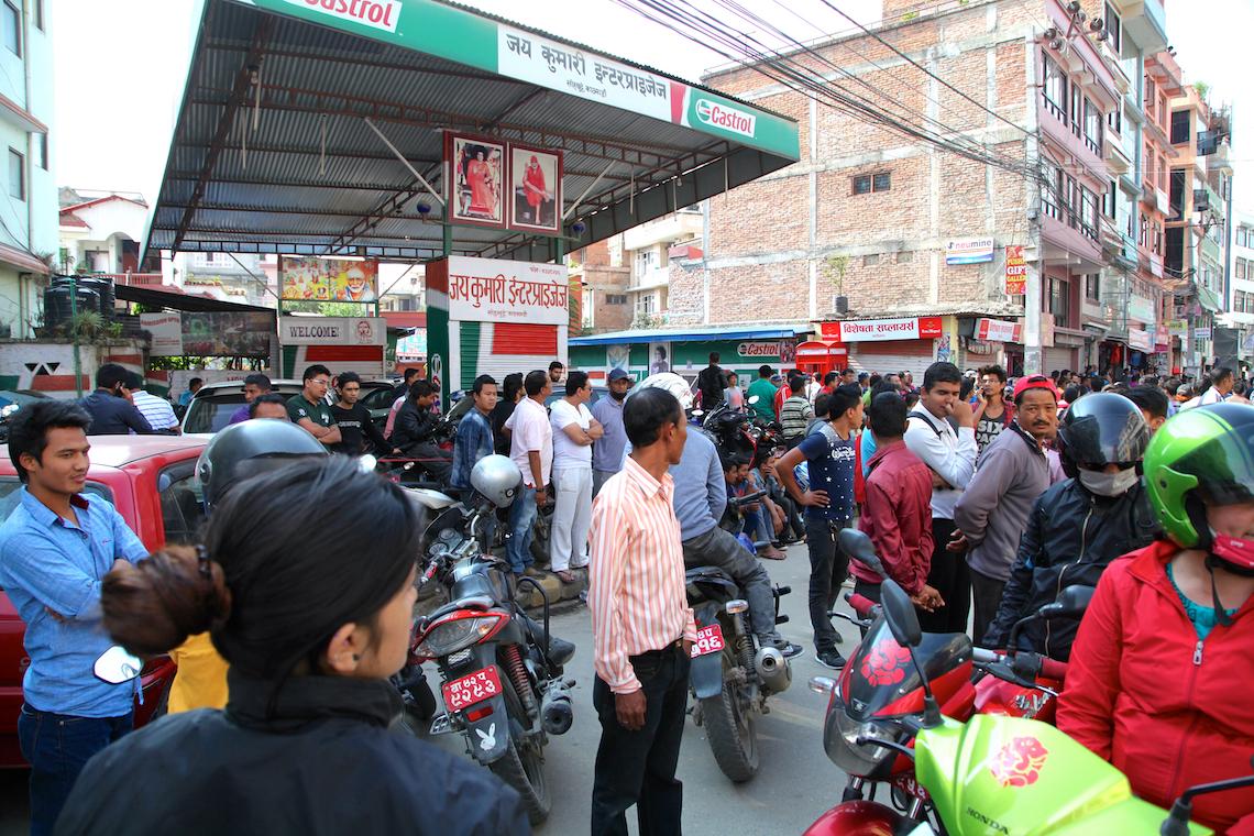 Motorists queue for rationed fuel in Kathmandu