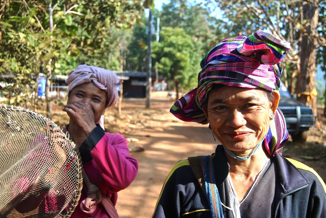 Thai women stop for a chat