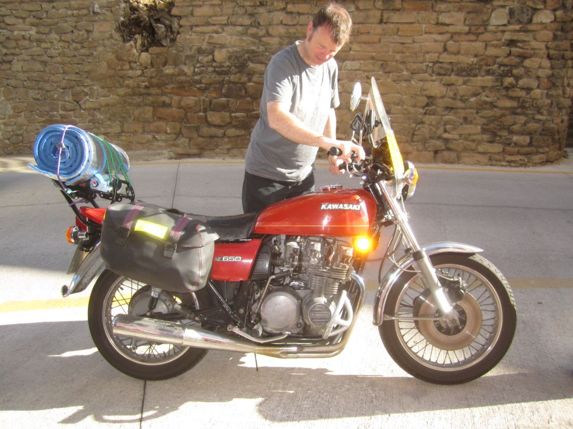 two-up trip down south to Spain on a 1977 Kawasaki Z650