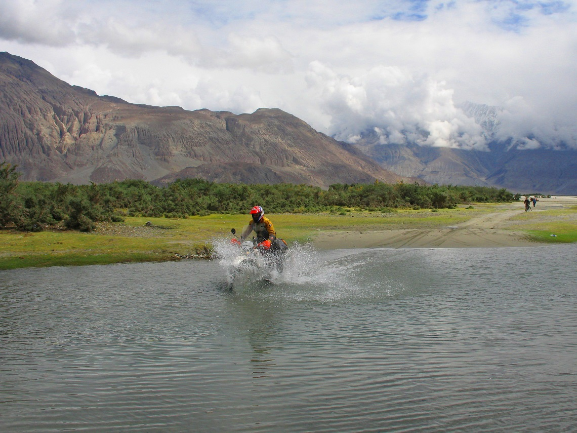 A Himalayan bike wash, Nubra Valley