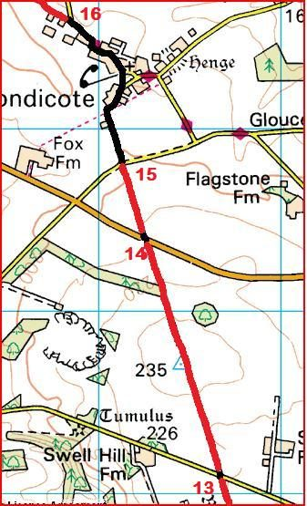 Route points 13 to 16