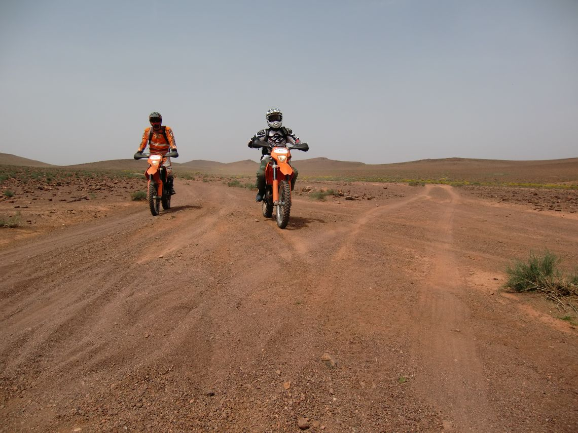 Two riders cruising into our lunch stop site on a high plain in the Anti Atlas.